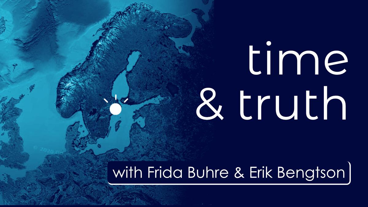 Google Earth image of Sweden in blue duo tone for International Global Rhetorics podcast