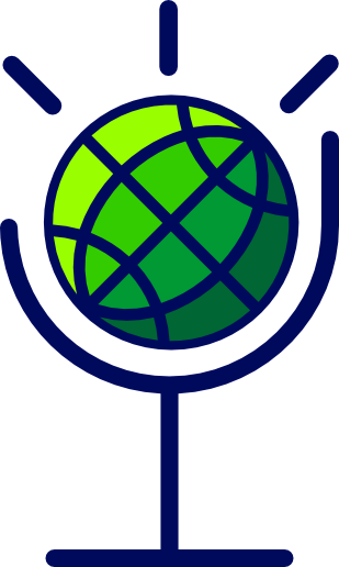 Globe in mic stand Logo for International Global Rhetorics podcast